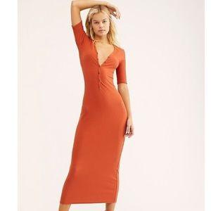 Free People Lulu Henley Midi Dress Orange Size XS